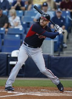 Braves first baseman Freddie Freeman bats at Masahiro Tanaka during the first inning of a 12 March spring training game between Atlanta and the New York Yankees at George M. Steinbrenner Field, Tampa, Florida, United States, 2015, photograph by Brian Blanco.