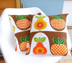 Large Scandinavian Apple Pear 70s Fabric Cushion Pillow  by Jane Foster