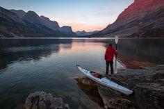 Kayaking Saint Mary Lake, Glacier National Park, Montana