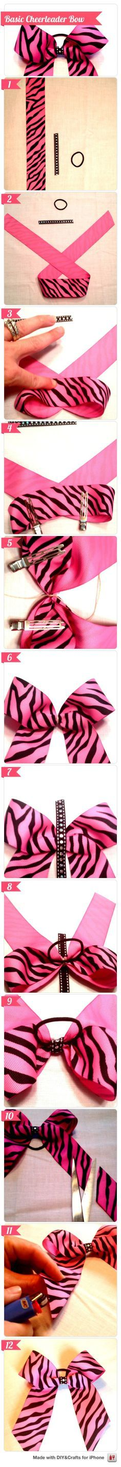 This shows how to do a cheer bow... But may work for crafts too w/o the hair tie