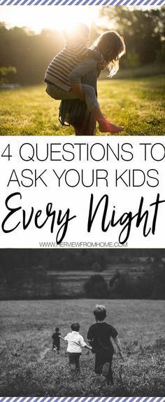 It's so easy for us to allow our days to pass by - with all the demands of motherhood, we have so many hoops to jump through each day. These 4 questions to ask can make such a different to your relationship with your kids. Try them out tonight and save for later. #ParentsKids&Parenst