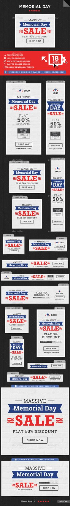 Memorial Day Sale Banners Sale banner, Banner template and Banners - abel templates psd