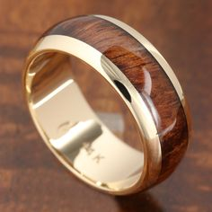 14K Solid Yellow Gold with Koa Wood Inlay Wedding Ring 7mm - Makani Hawaii,Hawaiian Heirloom Jewelry Wholesaler and Manufacturer