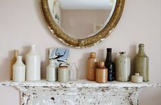 Vintage bottle collections for Period Living Magazine Decor, House Design, Interior, British Interior, Framed Bathroom Mirror, Round Mirror Bathroom, Sweet Home, Small Vase, Interior Photography