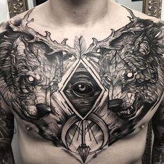 Por @fredao_oliveira #inkoniktattoostudio #belohorizonte #savassibh #tattoo #tattoobh #tatuagem #chestpiece #wolftattoo #wolf #blackwork