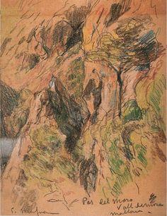 Eliseo Meifrén Roig. Pas del Moro, Valldemosa, Mallorca. Lápiz sobre papel. Firmado. 25 x 19 cm.