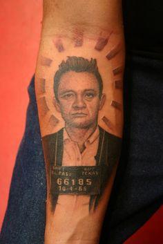 Johnny Cash Mugshot Tattoo by Corey Miller