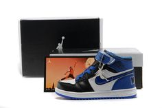 26d87ed55945cd Retro Kid(Youth) Jordan 1 Shoes White and Black Blue - Basketball Shoes  79845