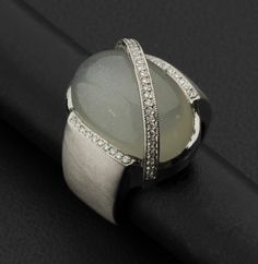 Diamond & Moonstone Cabochon Gold Ring. #heritageauction
