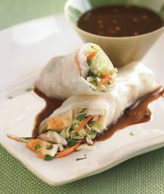 Shrimp Spring Rolls with Hoisin Dipping Sauce.  These looks like the delicious spring rolls at Lemon Grass.