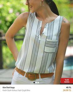 Notitle) - hatice koçak bluz modelleri, 2019 blusas, blusa de linho ve blus Plus Size Holiday Tops, Vetement Fashion, Blouse Designs, Blouses For Women, Tunic Tops, Fashion Outfits, Cheap Fashion, How To Wear, Clothes