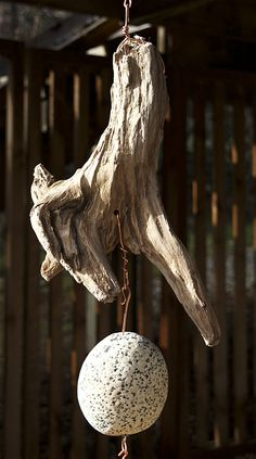 Natural Pacific driftwood and beach stone wind chime: top section detail.
