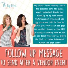 Follow up message to send after a vendor event... https://www.tagteampartypeeps.com