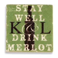 Stay Well Drink Merlot Initial Marble Stone Refrigerator Magnet Set