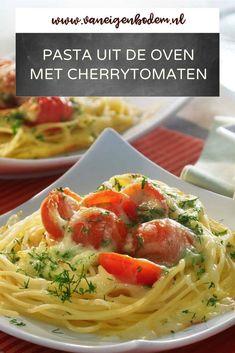Pasta Tomate, My Favorite Food, Favorite Recipes, Mozzarella, Food To Make, Oven, Spaghetti, Food And Drink, Veggies