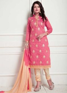 8823f81490 Pink Beige Embroidery Work Chanderi Cotton Designer Fancy Churidar Casual  Suit. Buy online shopping salwar kameez at -Suriname.