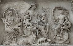 Left part of the east facade of the Ara Pacis Augustae (upper panel). Rome, Altar of Augustan Peace (Ara Pacis Augustae). Ancient Rome, Ancient Art, Ancient History, Art History, Roman Sculpture, Sculpture Art, Art Romain, Roman Art, Historical Art