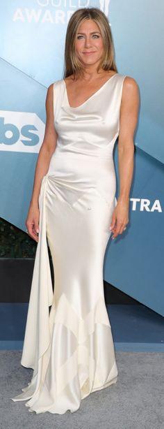Who made Jennifer Aniston's white satin gown and jewelry? Jennifer Hudson, Jennifer Connelly, Kate Hudson, Jennifer Aniston, Marisa Miller, Sienna Miller, Fashion Dictionary, Kristin Cavallari, Rachel Bilson