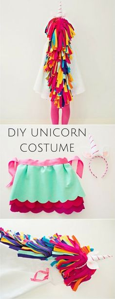 DIY No-Sew Felt Rainbow Unicorn Costume for Kids. Get the how-to to make this colorful unicorn costume that requires no sewing skills, Printable template for the cape and horns included along with matching skirt tutorial. So cute for kids Halloween costume.