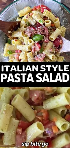Italian Style pasta salad recipe. It's a make ahead cold side dish for a potluck or party. We love it as a steak dinner side dish for weeknight meals and leftovers make a great work from home lunch. | sipbitego.com #sipbitego #pastasalad #makeahead #Italian #salad #sidedish #pasta #appetizer Basil Pesto Pasta, Pesto Pasta Salad, Easy Pasta Salad, Pasta Salad Italian, Pasta Salad Recipes, Supper Recipes, Side Dish Recipes, Lunch Recipes, Healthy Dinner Recipes
