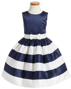 Cute navy and white stripe nautical dress for toddler girl