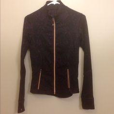 Lululemon jacket Lululemon jacket. Purple and black, gold zipper. Thumbholes. Zipper pockets. Size 4 excellent condition! lululemon athletica Other