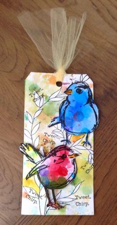 Zoeblingcards. W/c birds on background using line stamps, masking fluid, w/c and .....: