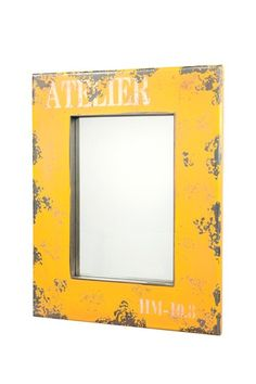 Moe's Home  Distressed Framed Mirror - Yellow