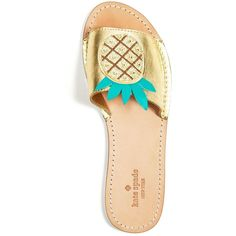 kate spade new york Ibis Embroidered Pineapple Slide Sandals (1,910 MXN) ❤ liked on Polyvore featuring shoes, sandals, pineapple, glitter shoes, leather shoes, pineapple print shoes, leather sandals and metallic sandals