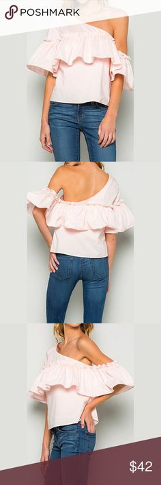 "One Shoulder Ruffle Pink Chic Top ❤️ BUNDLES ❤️ DISCOUNTS ❌ NO TRADES ❌ NO Low balling!  • Girlie, soft and chic  * MEASUREMENTS: • Small - Bust: 34.5"" Approx - Length:22"" Approx • • Medium - Bust: 36"" Approx - Length: 22.5"" • • Large - Bust: 38"" Approx - Length: 22.75"" Approx • * MATERIAL: - 60% Cotton - 35% Nylon - 5% Spandex Tops"