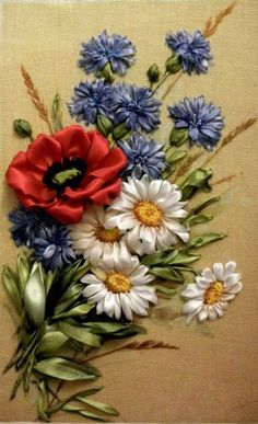 Wonderful Ribbon Embroidery Flowers by Hand Ideas. Enchanting Ribbon Embroidery Flowers by Hand Ideas. Embroidery Designs, Ribbon Embroidery Tutorial, Crewel Embroidery Kits, Silk Ribbon Embroidery, Cross Stitch Embroidery, Embroidery Thread, Embroidery Supplies, Ribbon Art, Ribbon Crafts