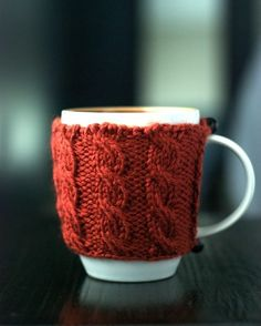 Cable knit mug cozy. Works for coffee on-the-go, too: go green and stop using coffee sleeves!