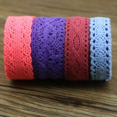 8yard mix color Hot Sale  Cotton Lace Roll Ribbon Knit Adhesive Tape Sticker Craft Decoration Fabric
