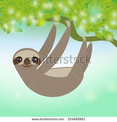 Three-toed sloth on green branch. Vector  - stock vector