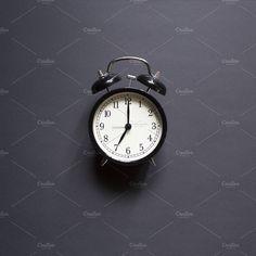 Ad: Black retro alarm clock by andreya on @creativemarket. Black alarm clock. Retro time. Minimal above #creativemarket Retro Alarm Clock, Technology Photos, Minimal, Accessories, Black, Black People, Jewelry Accessories