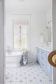 Pastel Blue and White Bathroom - pinned by www.youngandmerri.com