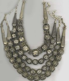 Silver granulated necklaces, Yemen.