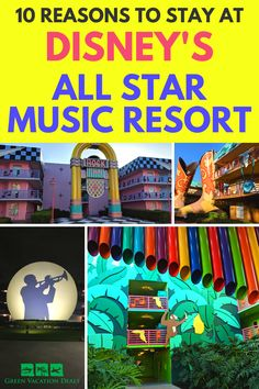 Disney's All Star Music Resort is an amazing hotel in Orlando Florida. You get the perks of staying at a Disney World hotel, but it's a value resort so you get an affordable price. Find out hacks for saving money there, plus why your family will love it! Learn about the pools, rooms, suites, layout, theming, what advantages the hotel has over other, more expensive Disney resorts Disney World Hotels, Disney Resorts, Best Resorts, Disney Vacations, Best Family Vacations, Family Vacation Destinations, Vacation Deals, Travel Hacks, Travel Advice