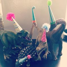 made my son's dinosaurs some party hats - to join in the birthday celebrations…