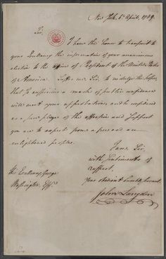 """Letter notifying George Washington of his """"unanimous election to the office of President of the United States of America."""" April 6, 1789."""