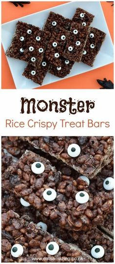 Monster rice crispy treats recipe - these fun treat bars are great for Halloween party food and cooking with the kids - fun Halloween food idea from Eats Amazing UK food ideas for kids easy Monster Rice Crispy Treats Recipe Halloween Tags, Halloween Snacks, Easy Halloween, Halloween Club, Halloween Crafts, Crispy Treats Recipe, Rice Crispy Treats, No Bake Treats, Halloween Backen