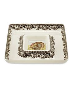 Spode Woodland Turkey Square Chip 'n' Dip by Spode