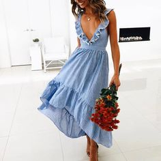 Elegant V Neck Ruffled Stripe Sleeveless Splicing Striped Dress – modevova maxi dress outfit,summer casual dress Ruffle Dress, Boho Dress, Striped Dress, Trendy Dresses, Day Dresses, Casual Dresses, Summer Formal Dresses, Flower Dresses, Casual Outfits