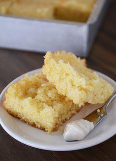 The Best Cornbread {and Fluffy Honey Butter} – Mel's Kitchen Cafe Moist Cornbread, Honey Cornbread, Cornbread Muffins, Honey Butter, Cafe Food, Stick Of Butter, Sweet Bread, Bread Recipes, Cafe Recipes