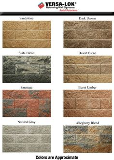 retaining wall color possibilities