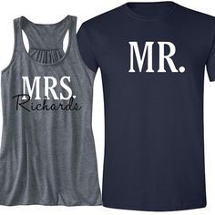 MRS with Heart Last Name and MR. Tank and T-Shirt by BeforeTheIDos #beforetheidos #honeymoon