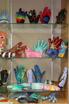 Display of painted plaster hands Middle School Art, Art School, Plaster Hands, High Art, Jr, Display, Sculpture, Creative, Painting