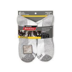 Dickies Men's 6-Pack DriTech Quarter Cut Work Socks, Fits size 6-12 White/Gray #Dickies #WorkSocks