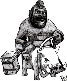 Hog Rider Clash of Clans by DaegStone on DeviantArt Hog Rider, Desenhos Clash Royale, Clash Of Clans Troops, Clas Of Clan, Star Wars Episode Iv, Black Characters, World Of Fantasy, Cool Art Drawings, Line Drawing