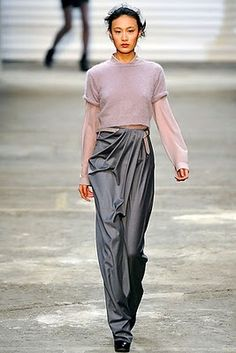 draped pants, layered top,  so in love, fashion, catwalk, trendy